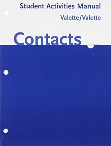 Contacts, by Valette, 8th Edition, Activities Manual 9780618395804