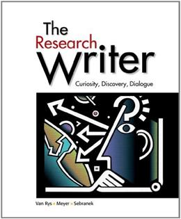 Research Writer: Curiosity, Discovery, Dialogue, by Van Rys 9780618756223