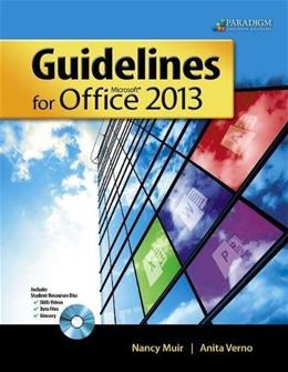 Guidelines for Microsoft Office 2013 (Guidelines Series) BK w/CD 9780763852580