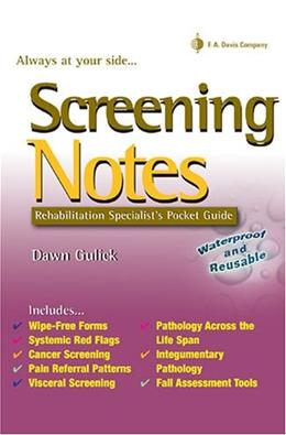 Screening Notes: Rehabilitation Specialists Pocket Guide, by Gulick 9780803615731
