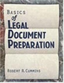 Basics of Legal Document Preparation, by Cummins 9780827367999