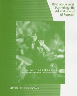 Readings in Social Psychology: The Art and Science of Research, by Kassin, 8th Edition 9780840033000