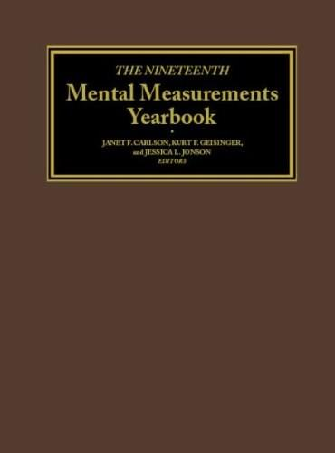 Mental Measurements Yearbook, by Carlson, 19th Edition 9780910674638
