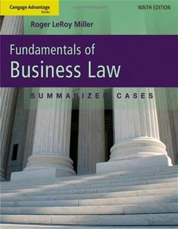 Cengage Advantage Books: Fundamentals of Business Law: Summarized Cases 9 9781111530624