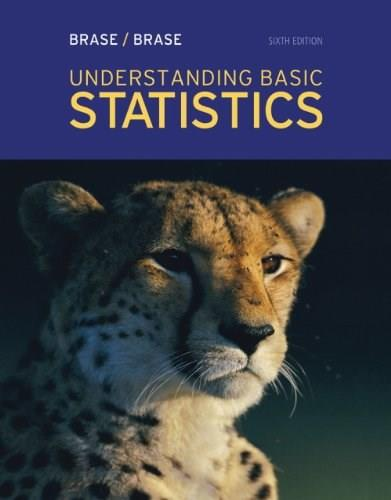 Understanding Basic Statistics, by Brase, 6th Edition, Solutions Manual 9781111990107