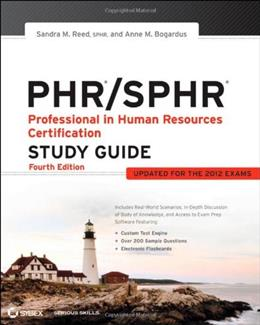 PHR/SPHR: Professional in Human Resources Certification, by Reed, 4th Edition, Study Guide 9781118289174