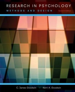 Research In Psychology: Methods and Design 7 9781118360026