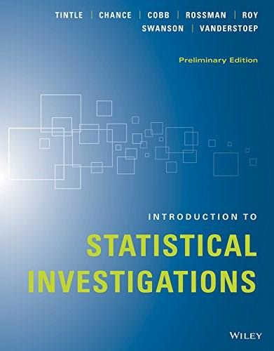 INTRODUCTION TO STATISTICAL INVESTIGATIONS, PRELIMINARY EDITION 2015 9781118956670