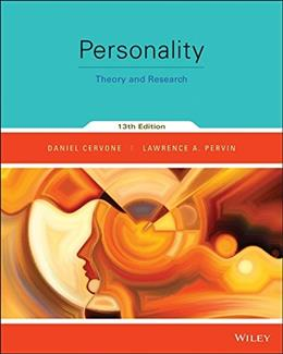 Personality: Theory and Research, by Cervone, 13th Edition Binder Ready Version 9781118976296