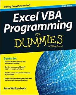 Excel VBA Programming For Dummies 4 9781119077398