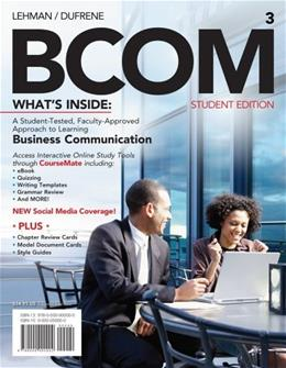 Bundle: BCOM (with Printed Access Card), 3rd + Cengage Learing Write Experience 2.0 Powered by MyAccess with eBook Printed Access Card 9781133069805