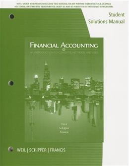 Financial Accounting: An Introduction to Concepts, Methods and Uses, by Schipper, 14th Edition, Student Solutions Manual 9781133591023