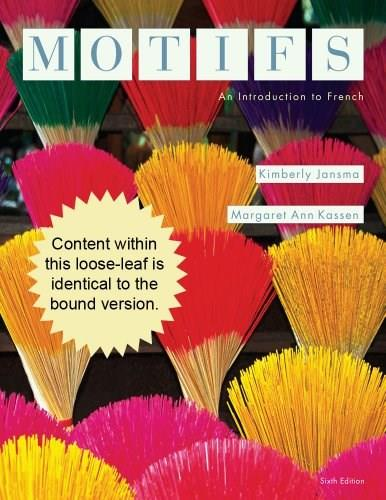 Motifs: An Introduction to French, by Jansma, 6th Edition 9781133937456