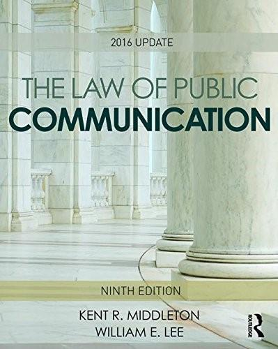 Law of Public Communication: 2016 Update, by Middleton, 9th Edition 9781138950719