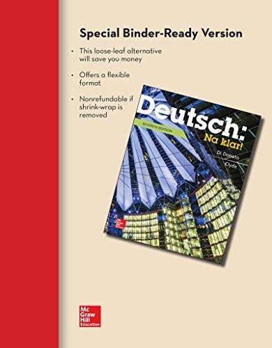 LOOSELEAF FOR DEUTSCH: NA KLAR AN INTRODUCTORY GERMAN COURSE (STUDENT EDITION) 7 9781259289460