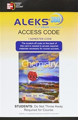 ALEKS 360 Access Card (1 Semester) for Introduction to Chemistry 4 9781259290138