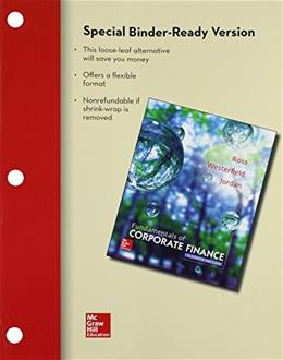 Fundamentals of Corporate Finance, by Ross, 11th Edition 9781259298707