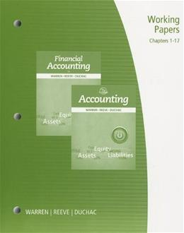 Accounting, by Warren, 25th Edition, Working Papers, Chapter 1-17 9781285073095