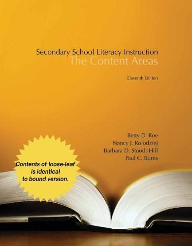 Secondary School Literacy Instruction, by Roe, 11th Ediiton 9781285085333