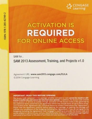 SAM 2013 Assessment, Training, and Projects v1.0 Printed Access Card PKG 9781285427492
