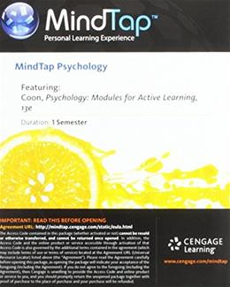 MindTap Psychology Printed Access Card for Coon/Mitterers Psychology: Modules for Active Learning 8th 9781285776514