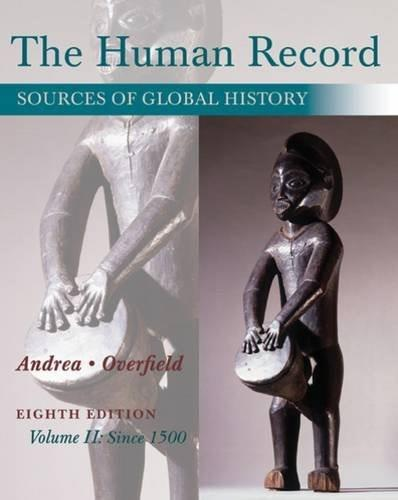 Human Record: Sources of Global History, by Andrea, 8th Edition, Volume 2: Since 1500 9781285870243