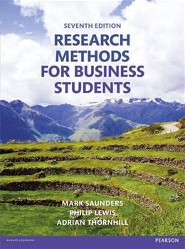 Research Methods for Business Students, by Saunders, 7th Edition 9781292016627