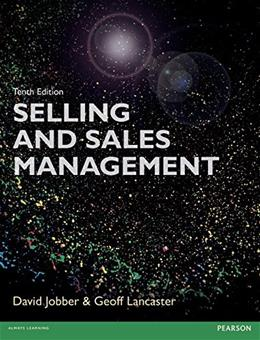 Selling and Sales Management, by Jobber, 10th Edition 9781292078007