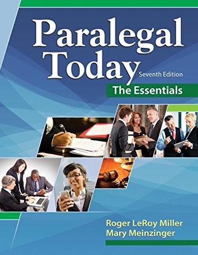 Paralegal Today: The Essentials, by Miller, 7th Edition 9781305508743