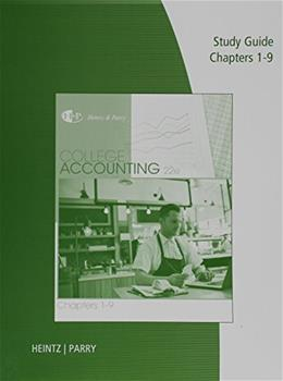 College Accounting, Chapters 1-9, by Heintz, 22nd Edition, Study Guide 9781305667679