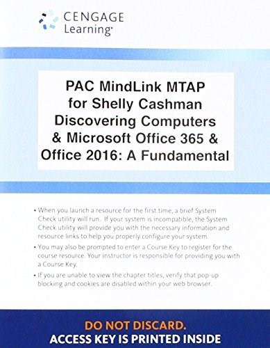 PAC MindLink MTAP for Shelly Cashman Discovering Computers & Microsoft Office 365 & Office 2016: A Fundamental 9781305875913