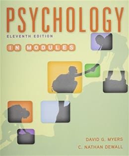 Psychology in Modules, by Myers, 11the Edition 11 PKG 9781319017033