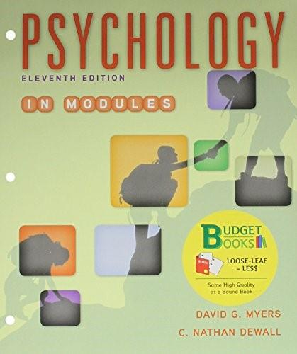 Psychology in Modules, by Myers, 11th Edition 11 PKG 9781319017040
