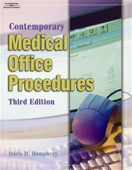 Contemporary Medical Office Procedures, by Humphrey, 3rd Edition, Workbook 9781401870683