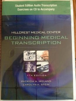 Medical Center: Begining Medical Transcription, by Ireland, 7th Edition, CD-ROM ONLY 7 CD-ROM 9781435441217