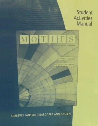 Motifs, by Jansma, 5th Edition, Activities Manual 9781439081884