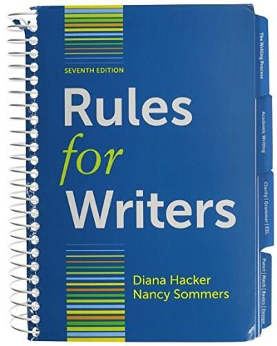 Rules for Writers with Writing about Literature: Tabbed Version, by Hacker, 7th Edition 7 PKG 9781457654442