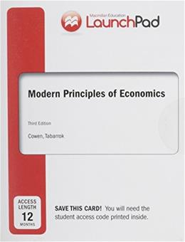 Modern Principles of Economics, by Cowen, 3rd Edition, ACCESS CODE ONLY 3 PKG 9781464110160