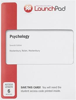 Psychology, by Hockenbury, 7th Edition, LaunchPad Access Code Only 7 PKG 9781464155222