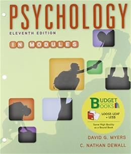 Psychology in Modules, by Myers, 11th Edition 9781464173578