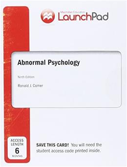 LaunchPad for Comers Abnormal Psychology (Six Month Access) Access Card ONLY 9 9781464175992