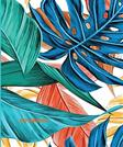 Journal: Colorful Palm Leaf Journal, Tropical, Blue, Teal, Orange, Yellow, Green, Size: 5.5 X 8.5, Small