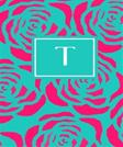 T: Personalized Initial Journal/Notebook/Diary (Pink Floral on Teal Monogram Journals) (Volume 20)