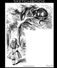 Sketchbook, Alice and the Cheshire Cat: Blank Pages for your Art Work, Extra large (8.5 x 11) 150 Pages