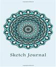 Sketch Journal: Flower Mandala (Blue) 6x9 - Pages are LINED ON THE BOTTOM THIRD with blank space on top (Mandala Design Sketch Journal Series)